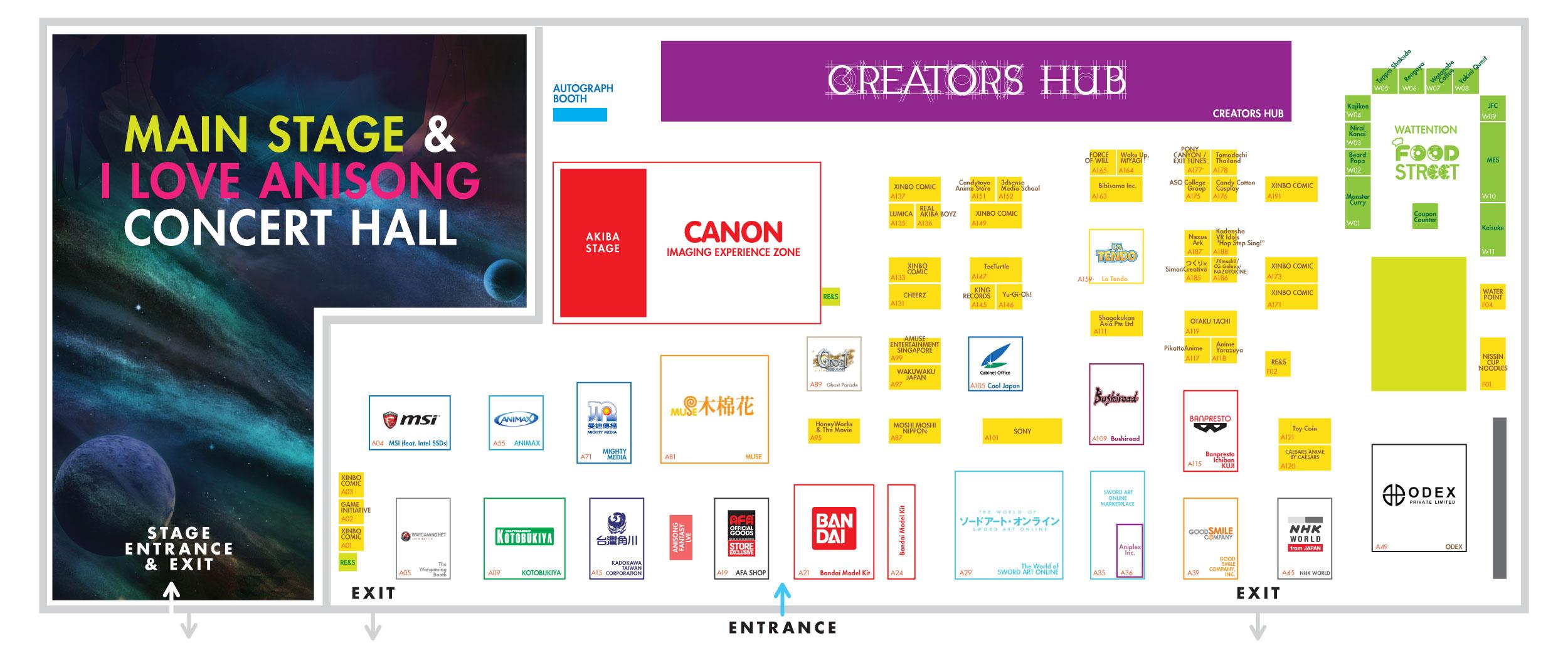 exhibitors anime festival asia singapore 2016 exhibition floor plan